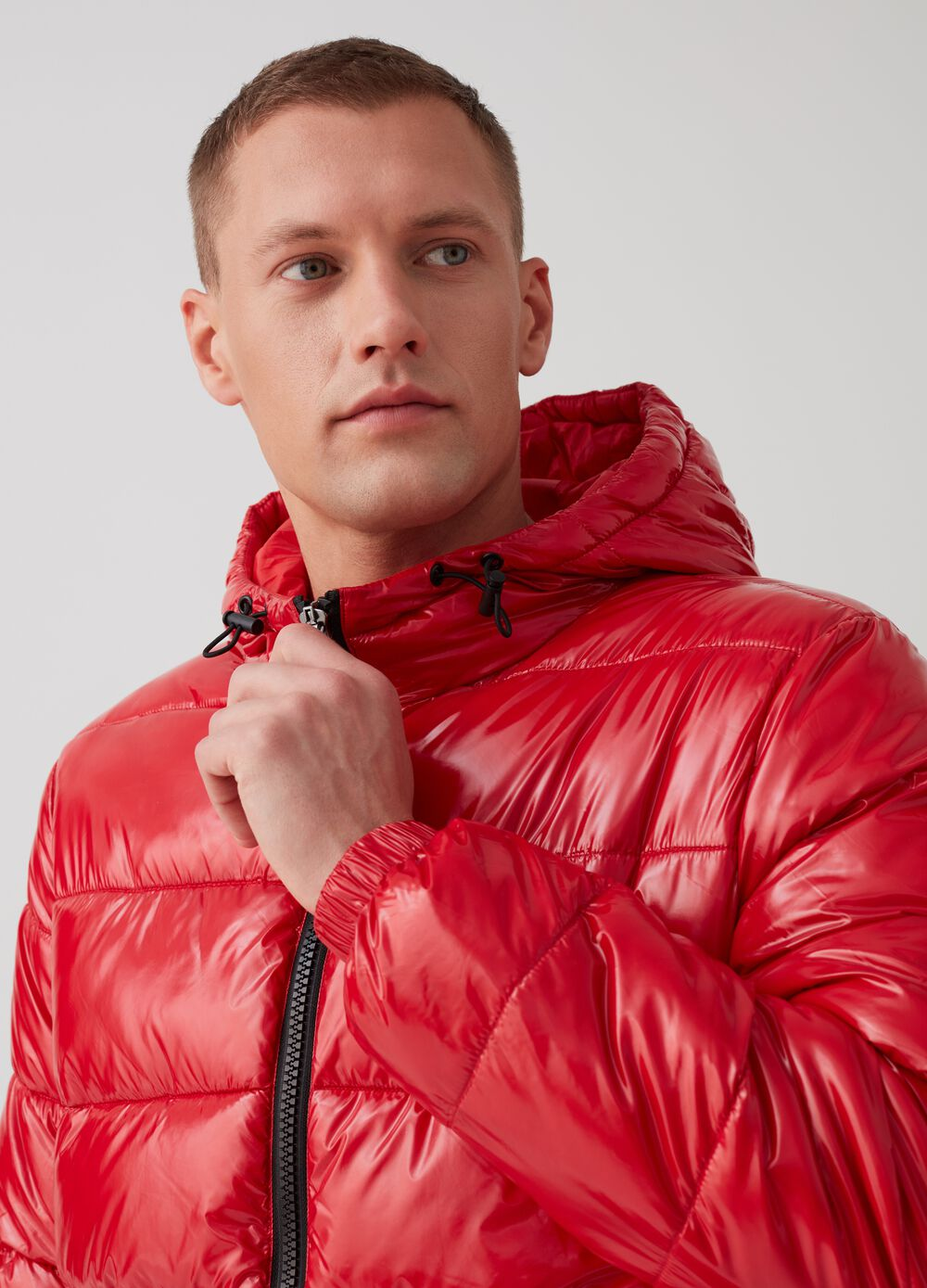 Glossy padded and quilted down jacket