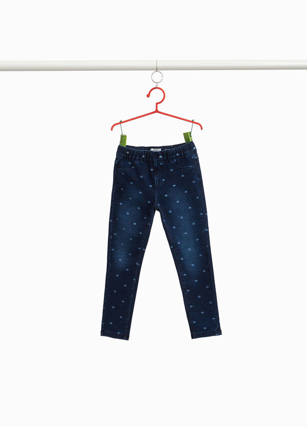 Stretch jeggings with heart pattern