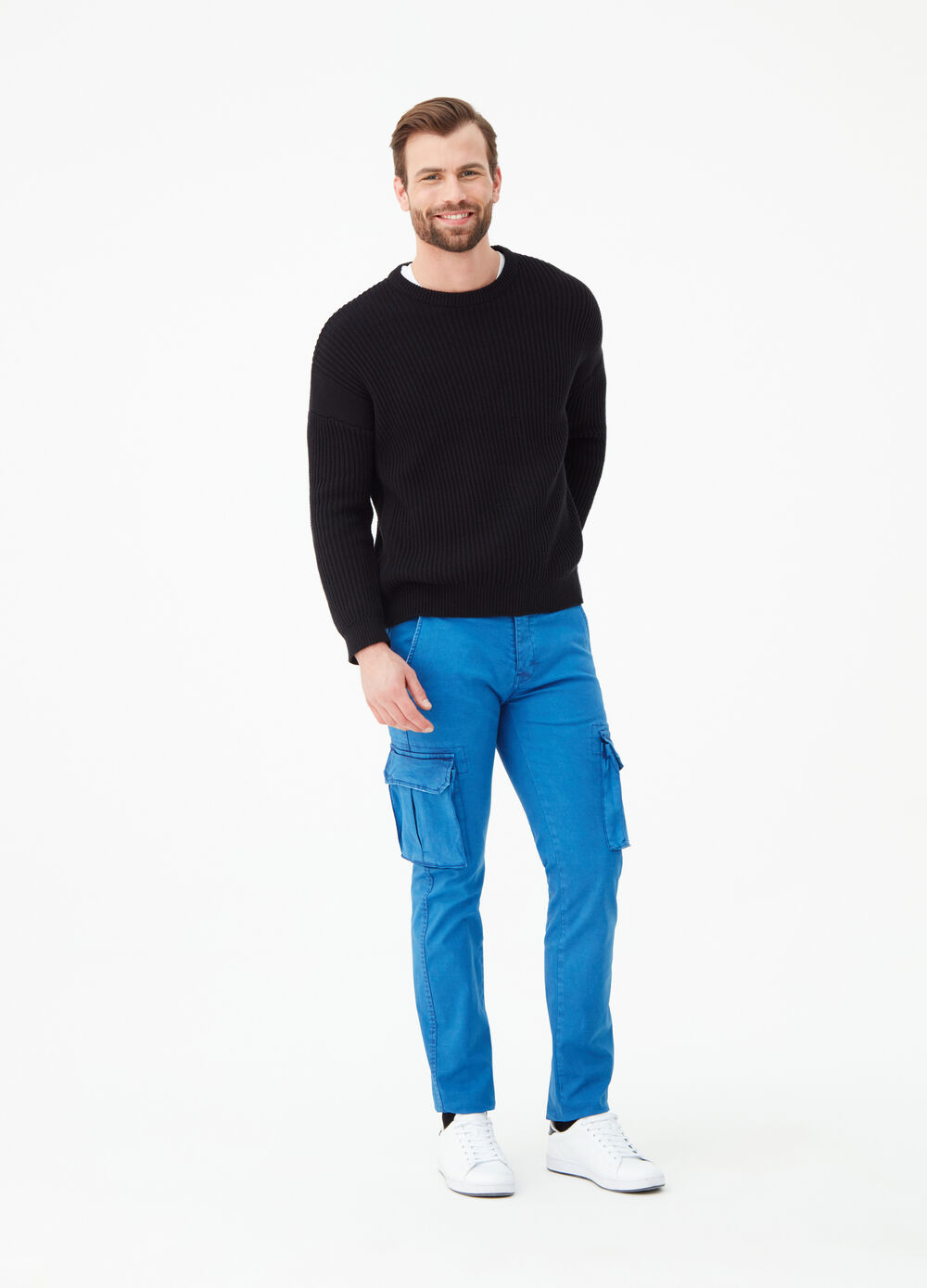 Slim-fit cargo trousers in stretch cotton
