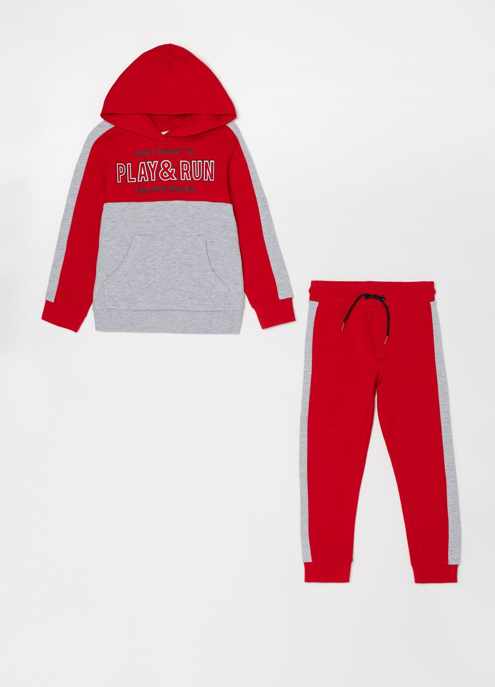 Two-tone jogging set with sweatshirt and trousers