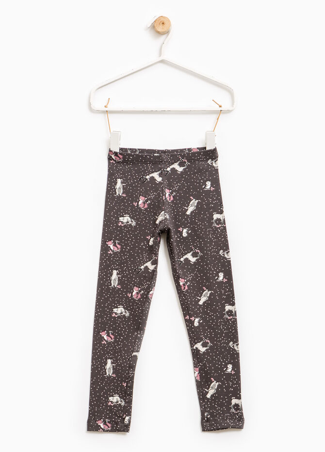 Patterned leggings in stretch cotton