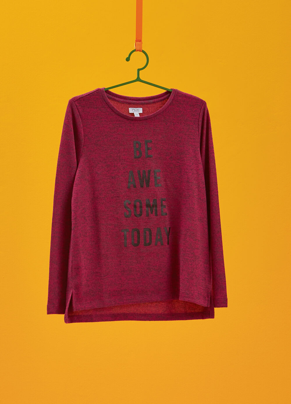 Mélange knitted pullover with lettering print