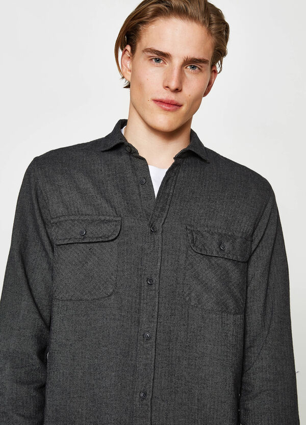 Casual flannel shirt with micro pattern