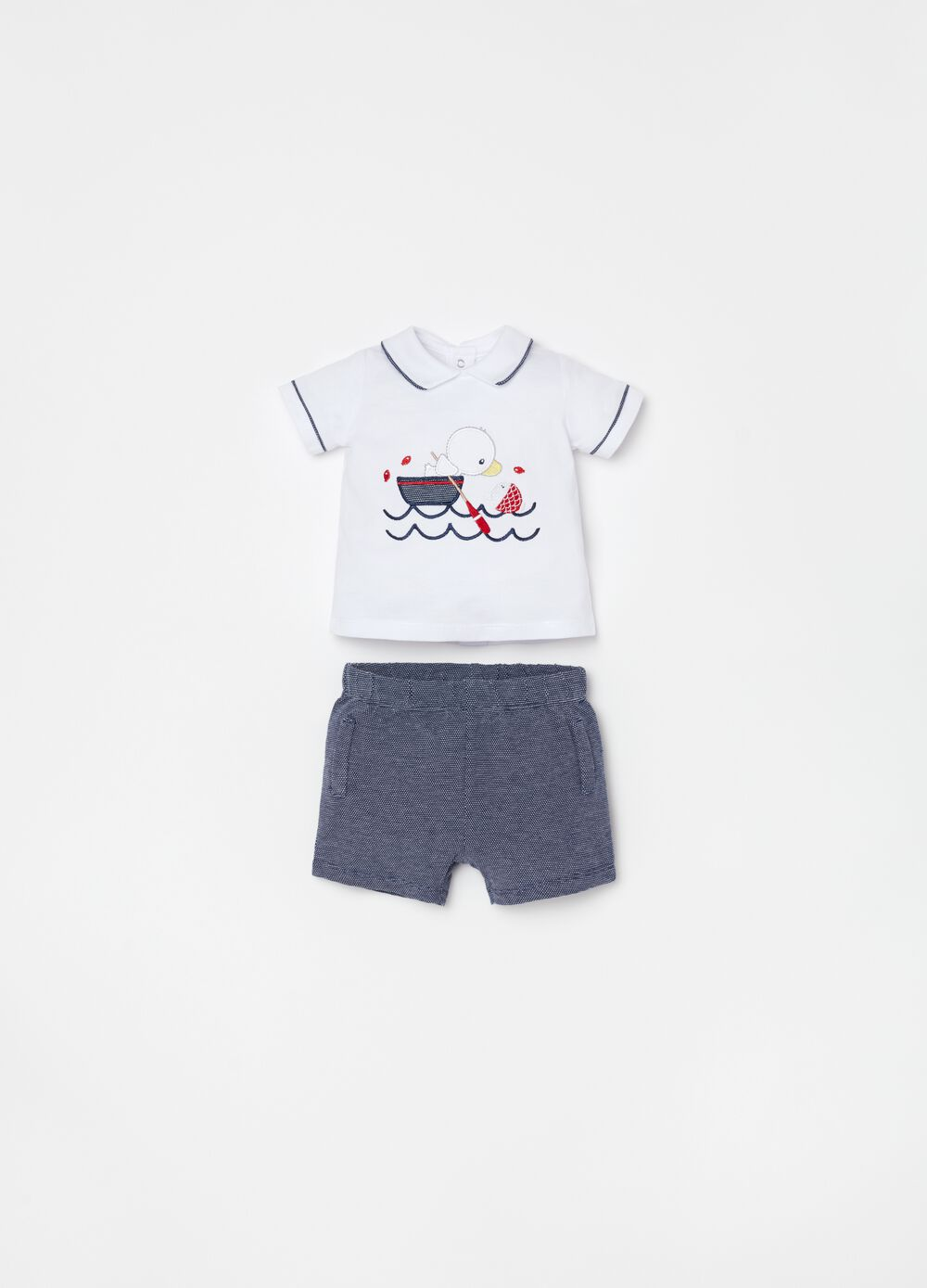 T-shirt and shorts set in 100% organic cotton