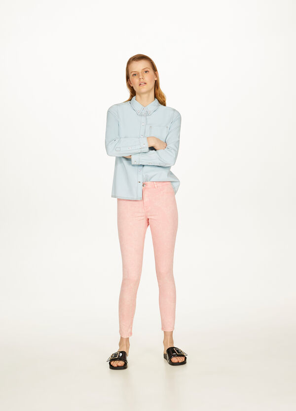 Mis-dyed, stretch skinny-fit trousers
