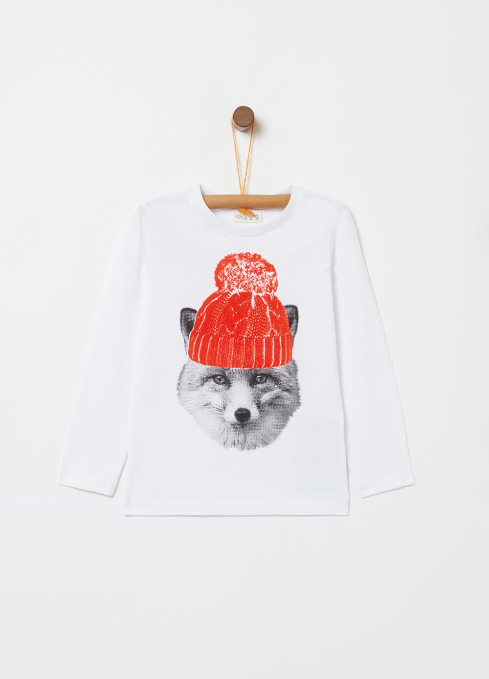 Organic cotton T-shirt with dog and comic print