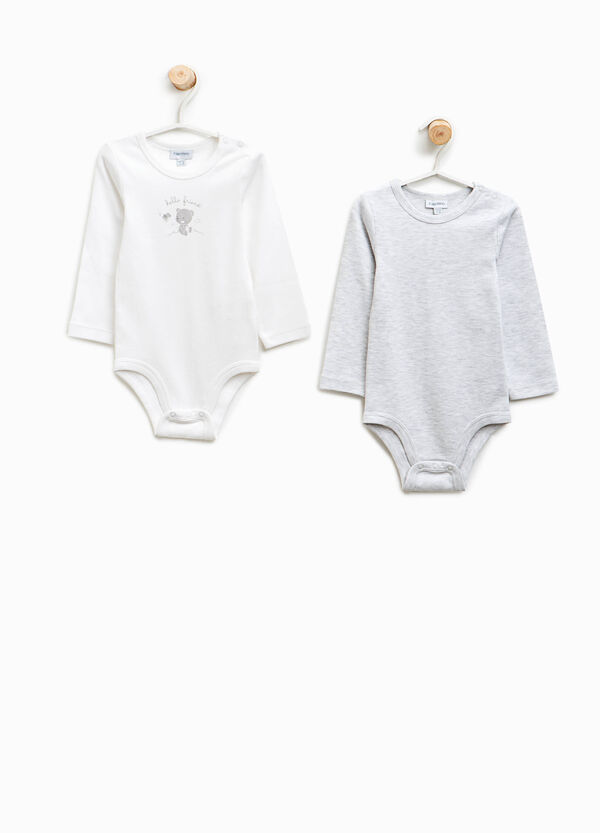 Two-pack organic cotton bodysuits with teddy bears