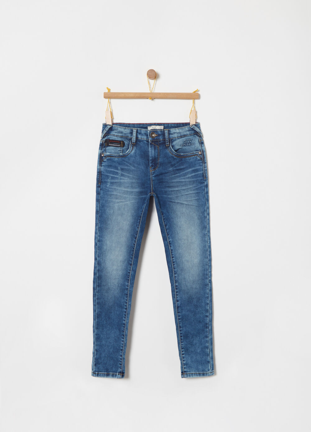 Slim fit, washed-effect jeans