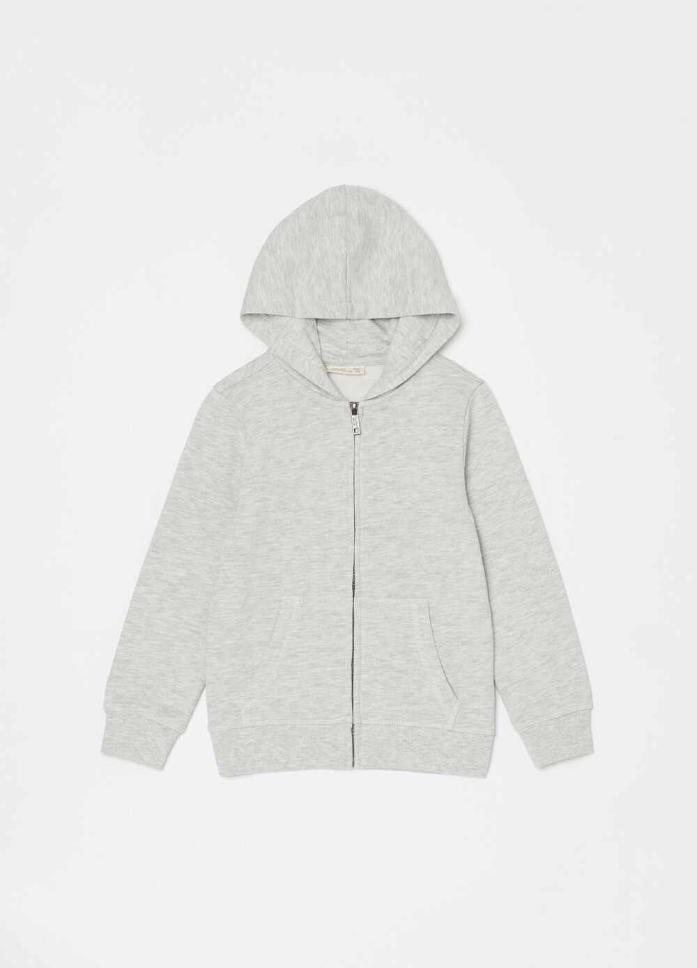 Mélange cotton and viscose full-zip sweatshirt