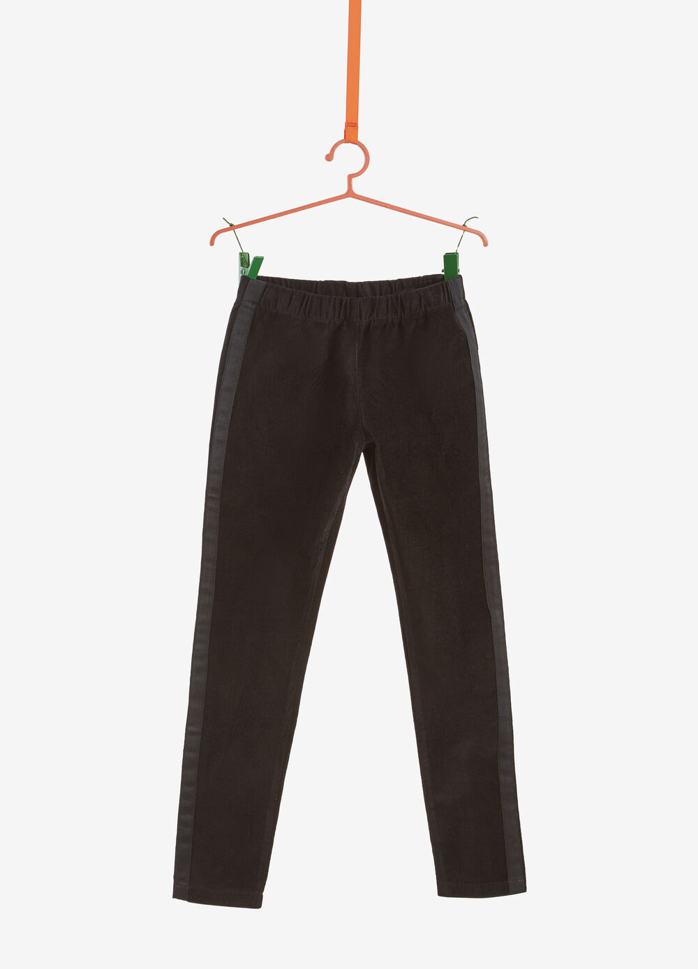 Stretch cotton and viscose trousers with bands