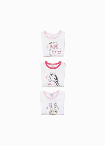Three-pack bodysuits with animal print