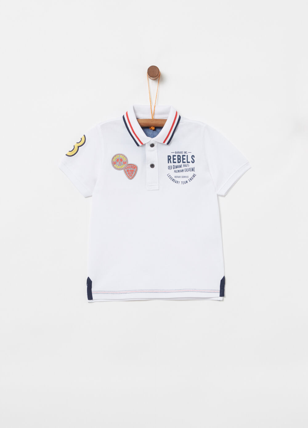 Piquet polo shirt with knitted collar and embroidery