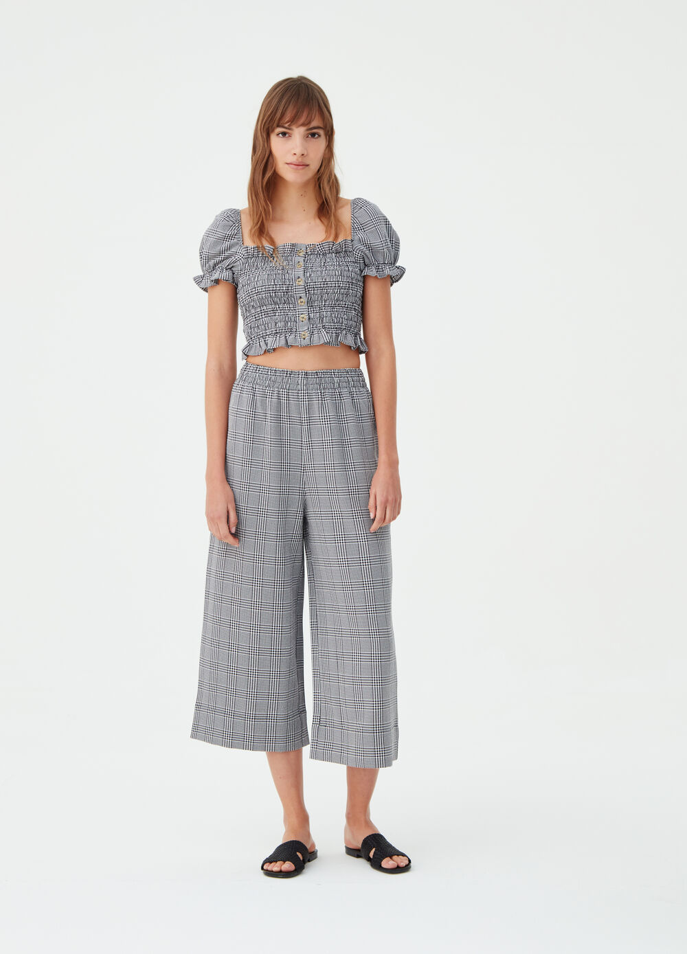 Stretch palazzo trousers with check design
