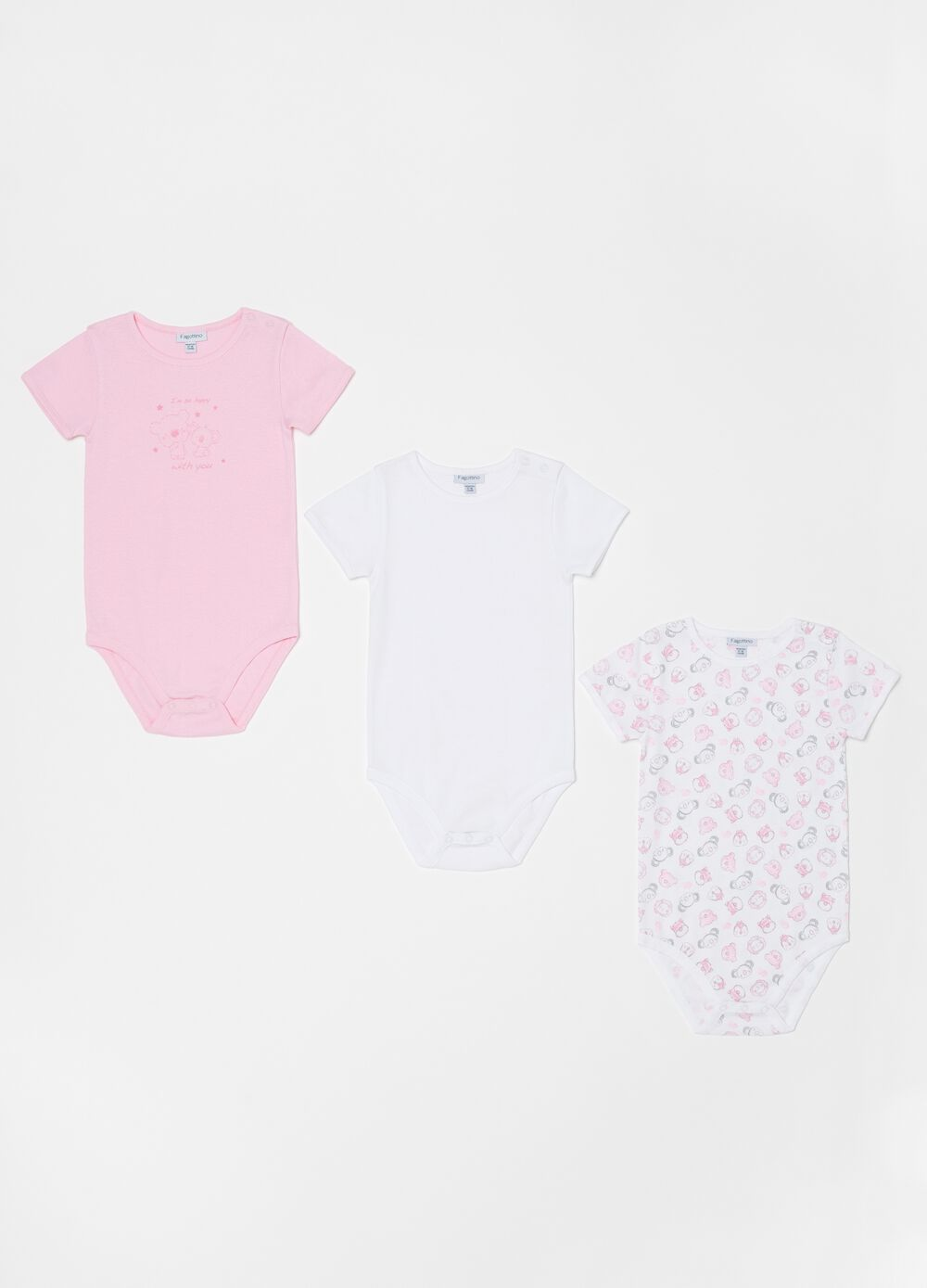 Three-pack 100% organic cotton bodysuits with pattern