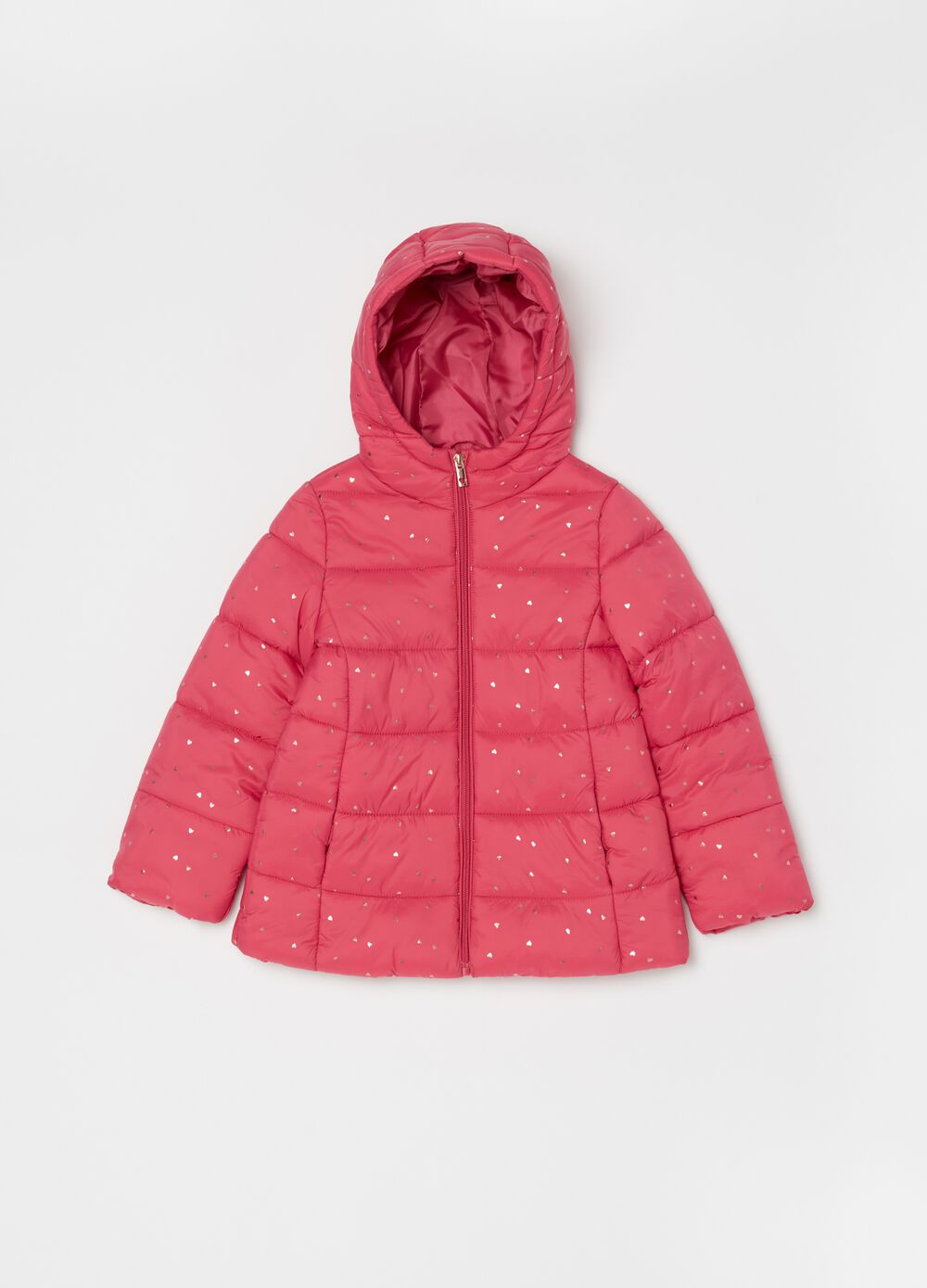 Padded and quilted jacket with high collar