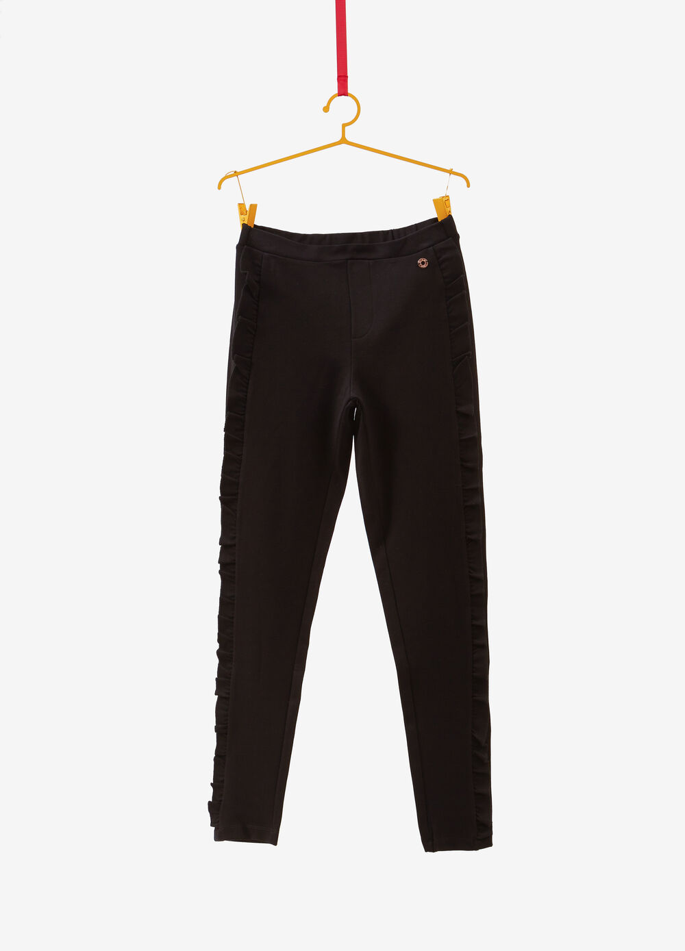 Stretch trousers with frill