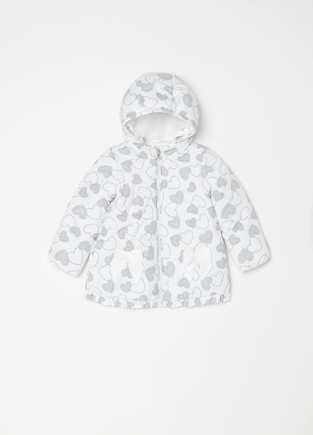 Padded down jacket with polka dot heart pattern