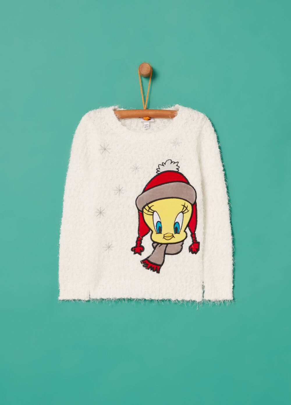 Knitted pullover with Warner Bros Tweetie Pie embroidery