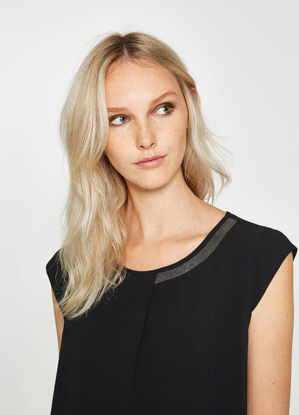 Stretch blouse with trim on the neckline | OVS