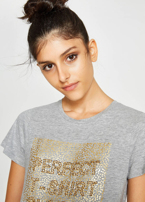 Printed T-shirt in cotton with embroidery
