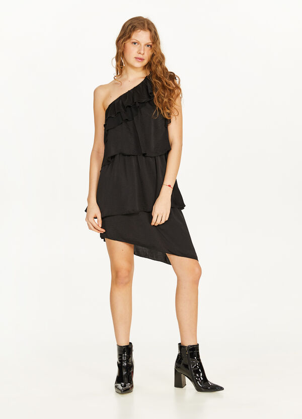 Dress with one shoulder strap with solid colour flounce