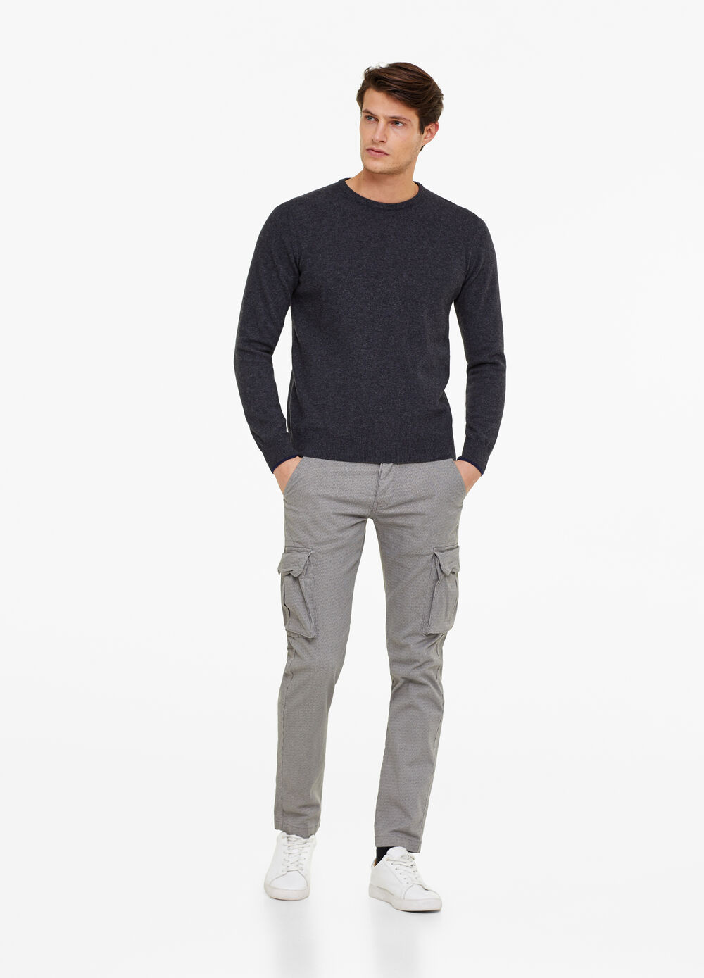Slim-fit cargo trousers with micro pattern