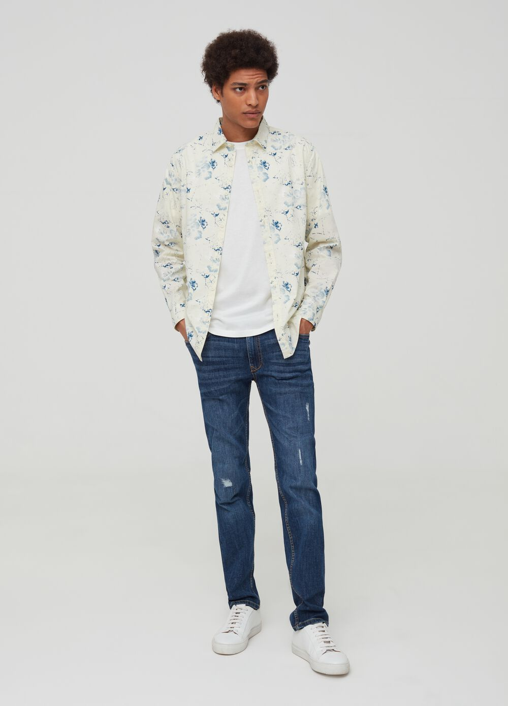 Patterned shirt in 100% cotton
