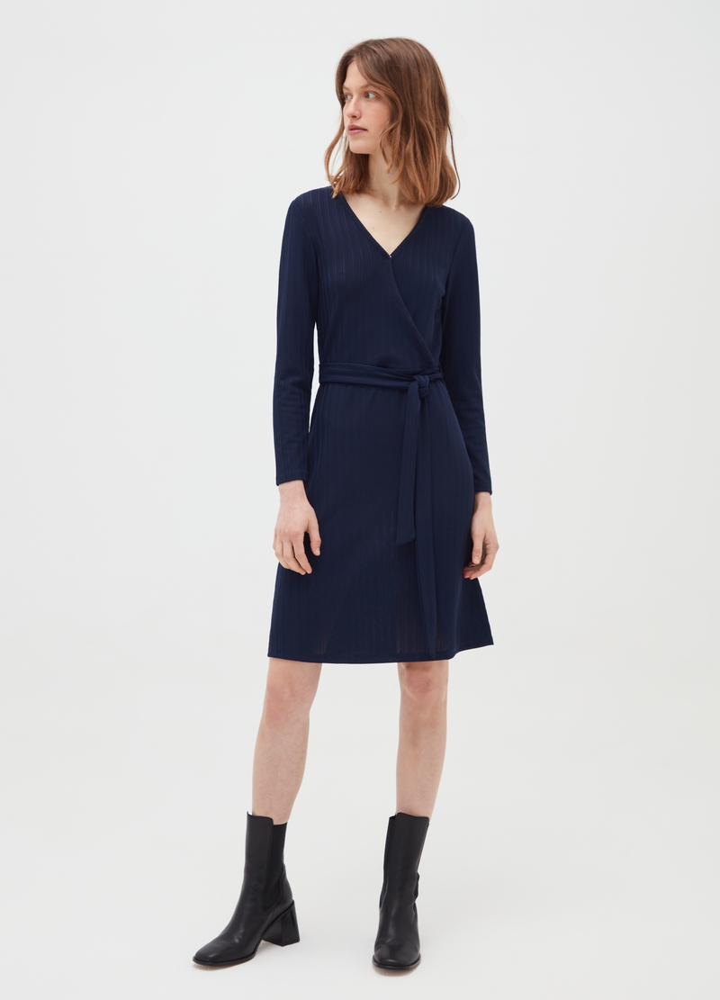 Stretch ribbed crossover dress image number null