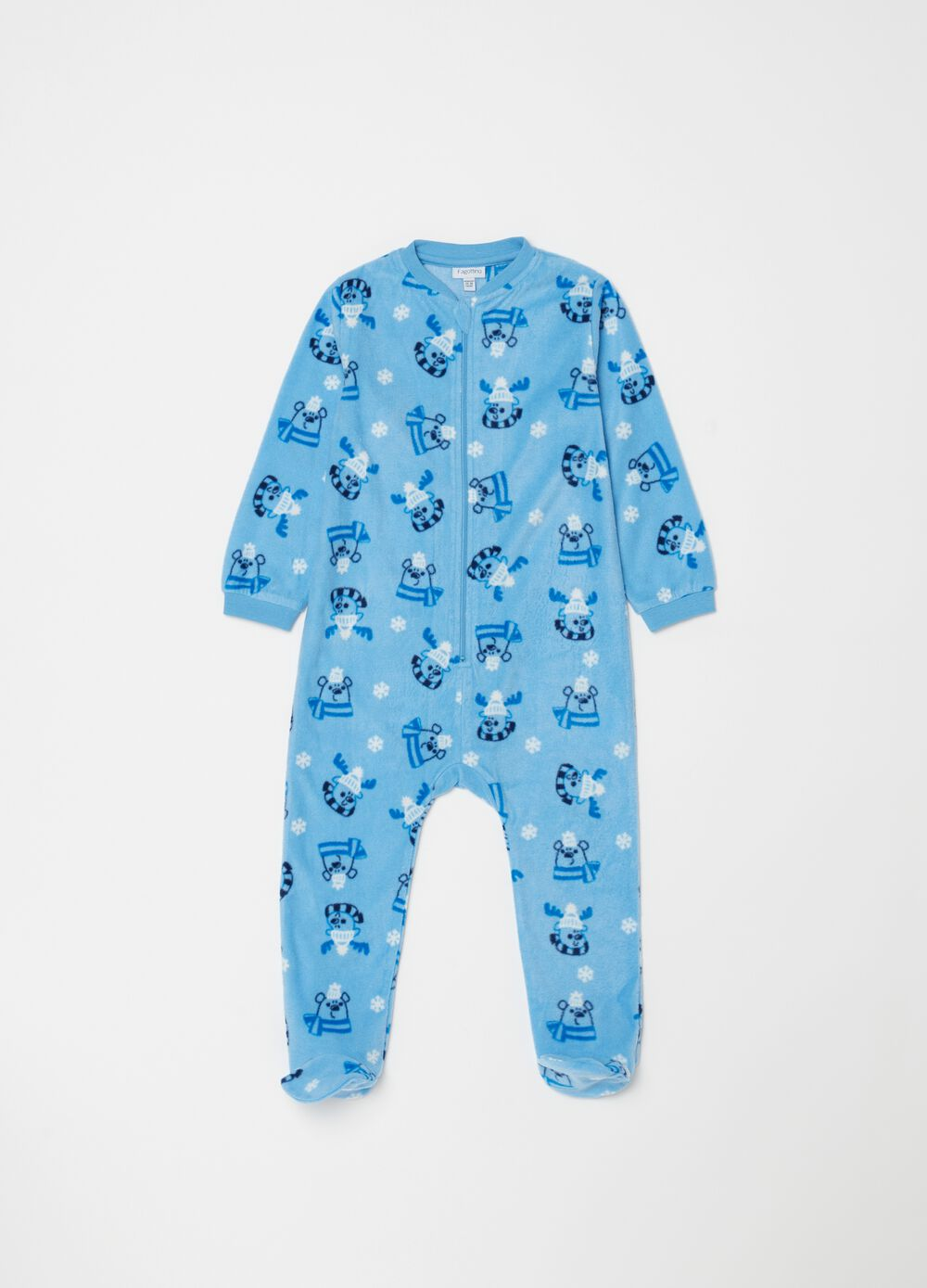 Chenille-effect onesie with feet and zip