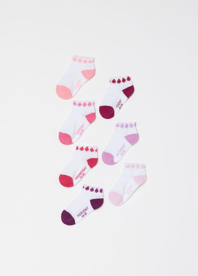 Seven-pair pack short socks with print