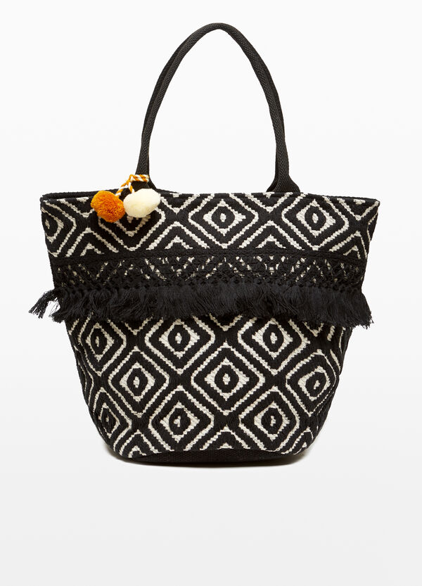 Cotton beach bag with diamond shapes and pompoms