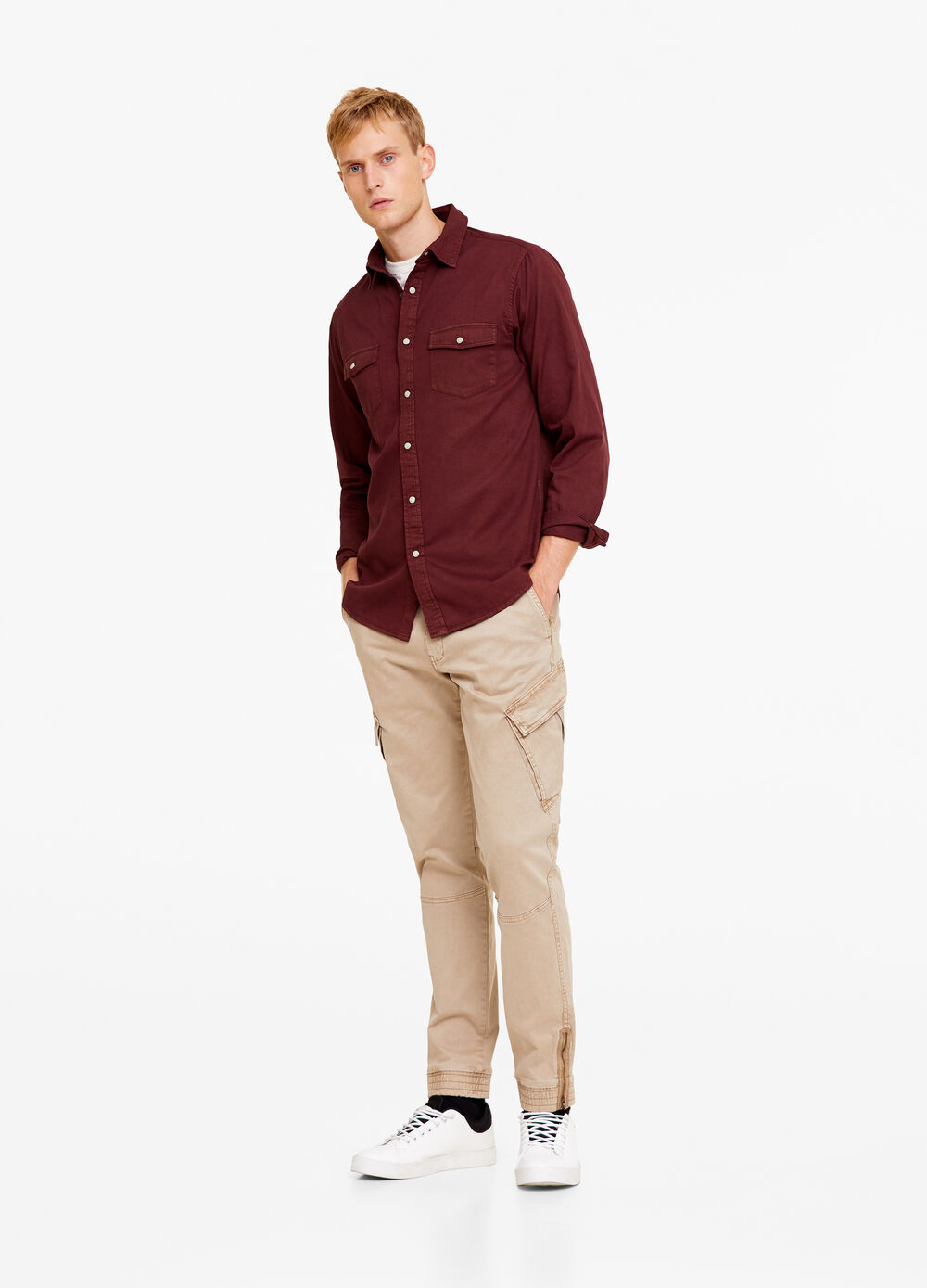 Casual shirt with snap buttons