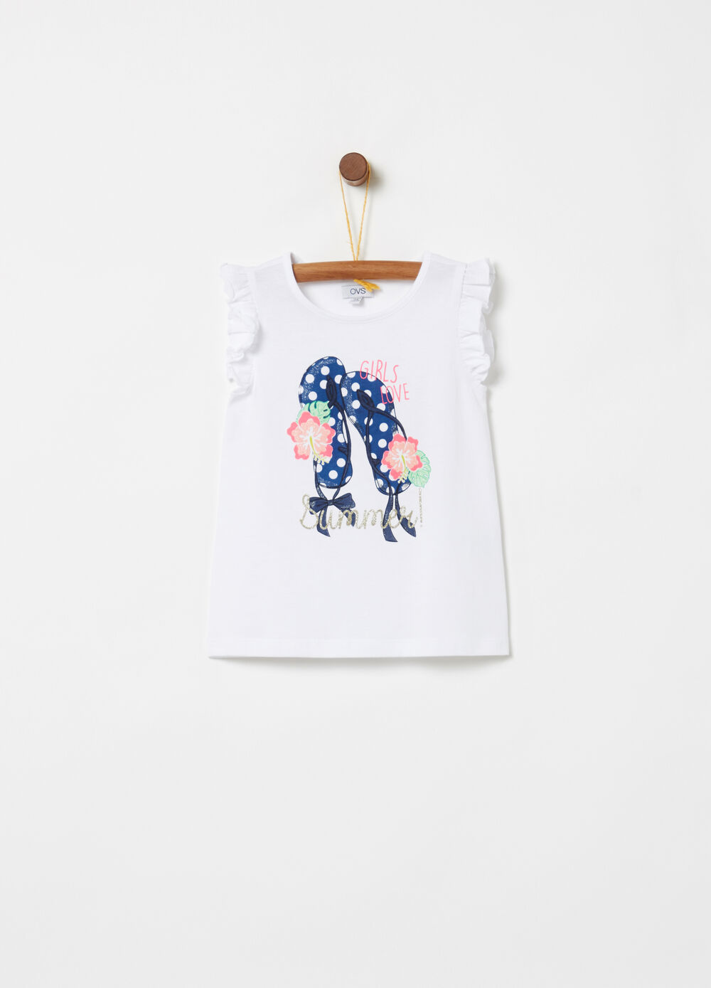 Tank top with flounces and glitter print