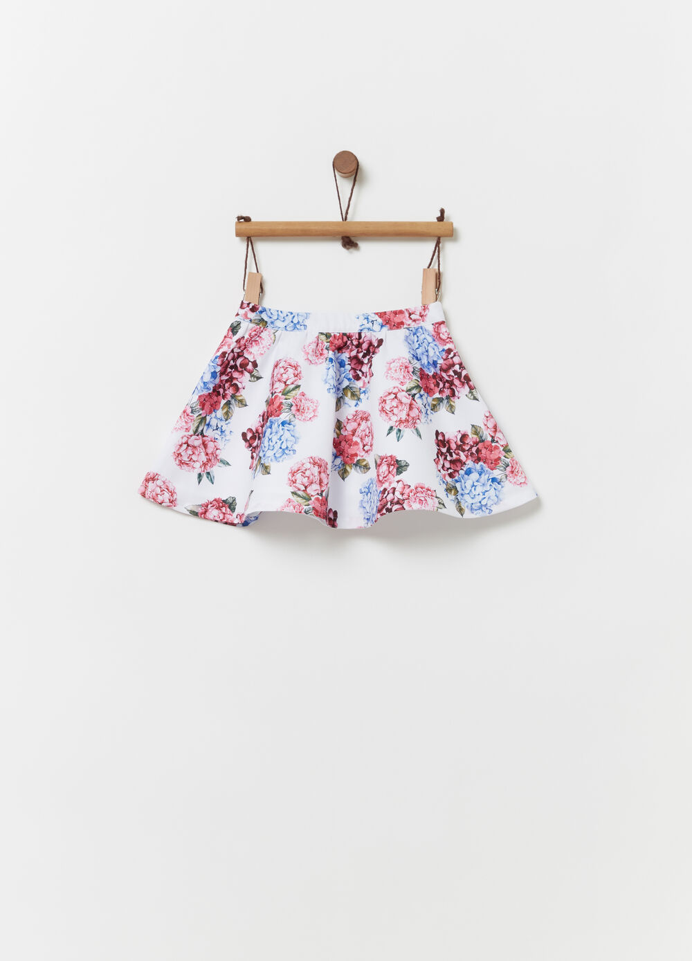 Flounced skirt with all-over floral print