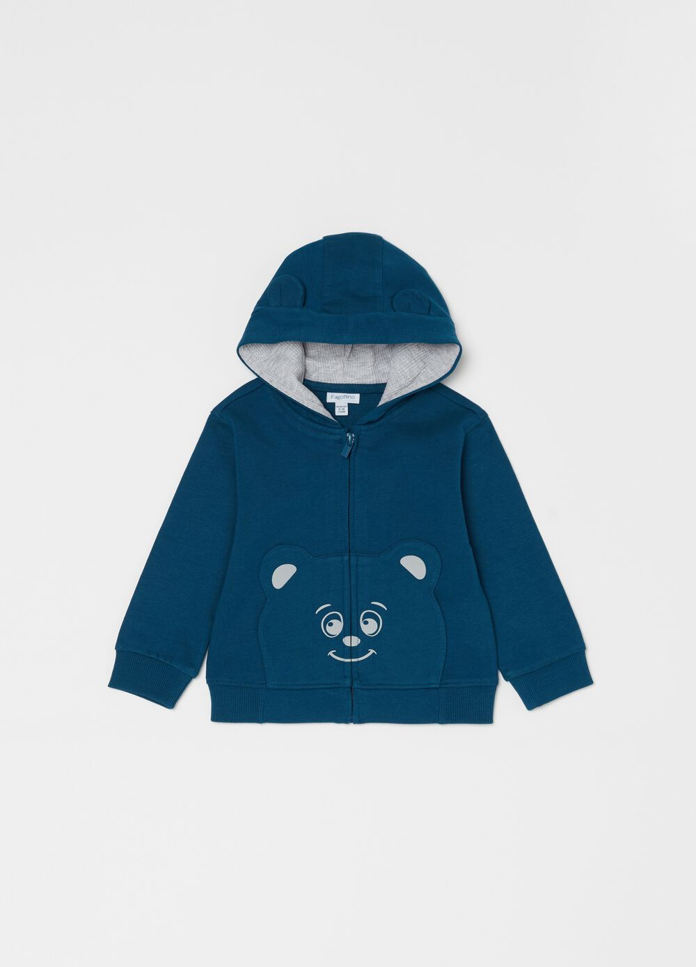 Full-zip sweatshirt in 100% organic cotton with teddy bear print