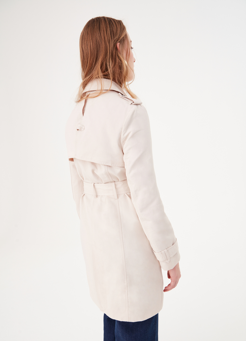 Double-breasted trench coat in cotton blend image number null