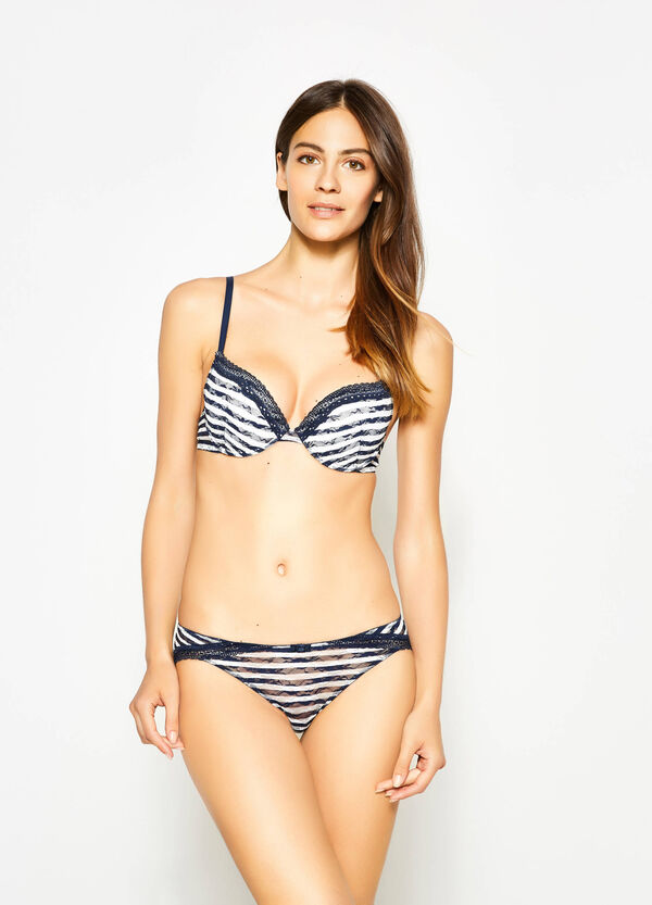 Push-up lace bra with stripes   OVS