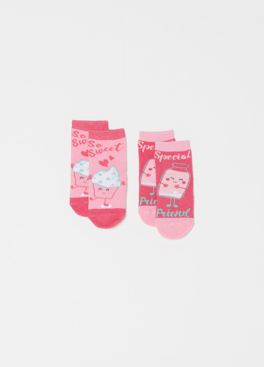 Two-pair pack socks with cake design embroidery