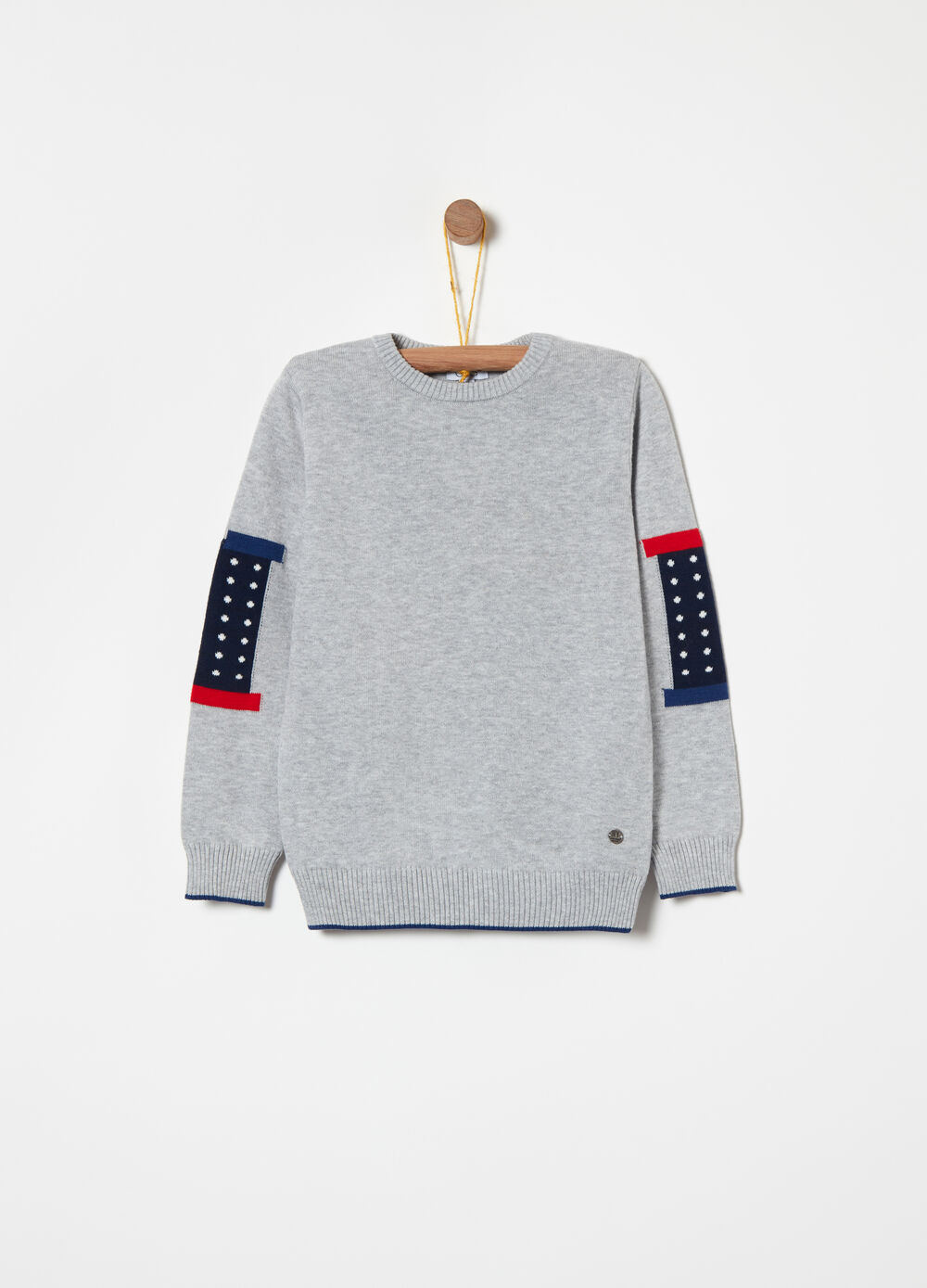 Knitted cotton pullover with jacquard inserts