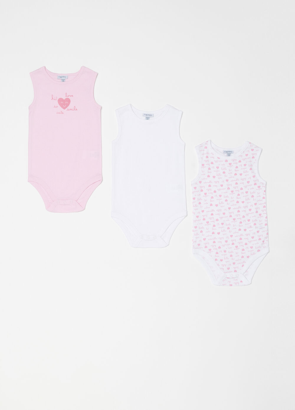 Three-pack patterned and printed sleeveless bodysuits