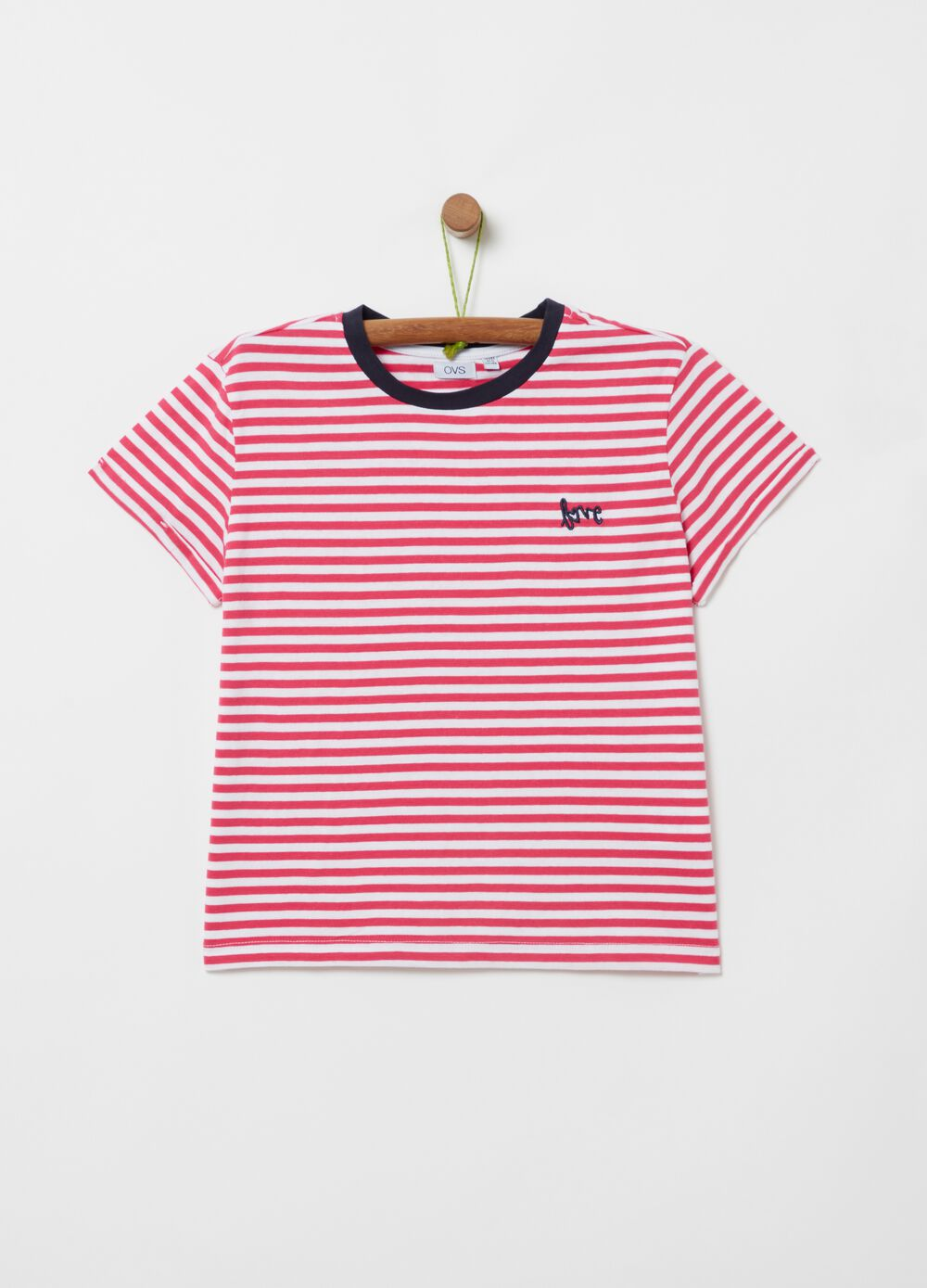 Striped T-shirt with lettering embroidery