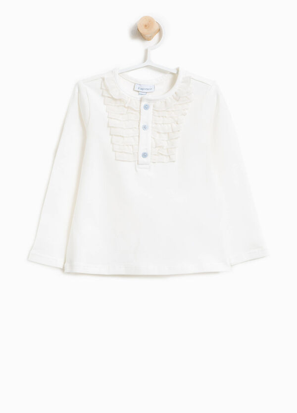 Stretch cotton T-shirt with flounce | OVS