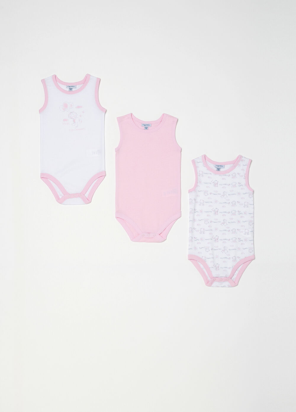 Three-pack bodysuits in 100% cotton with buttons