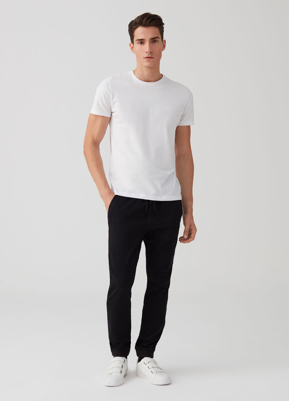 Faded and misdyed-effect stretch joggers