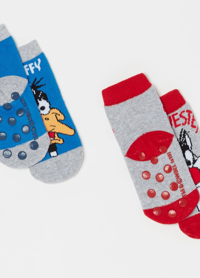 Two-pair pack short socks with embroidery