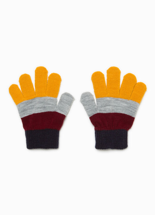 Striped knit gloves with ribbing
