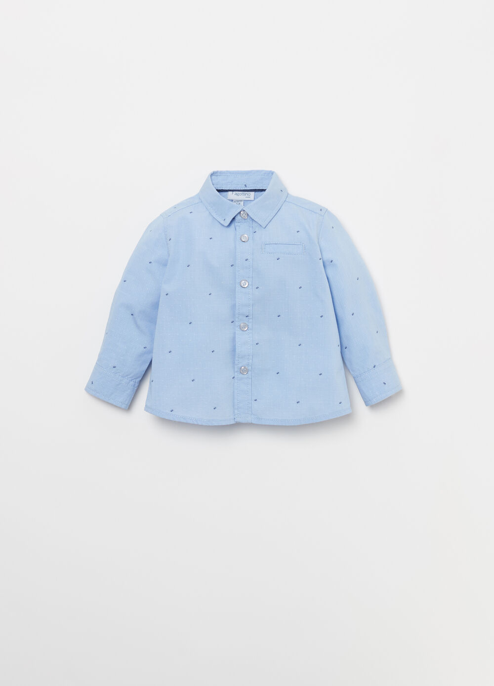 Yarn-dyed poplin shirt with embroidery