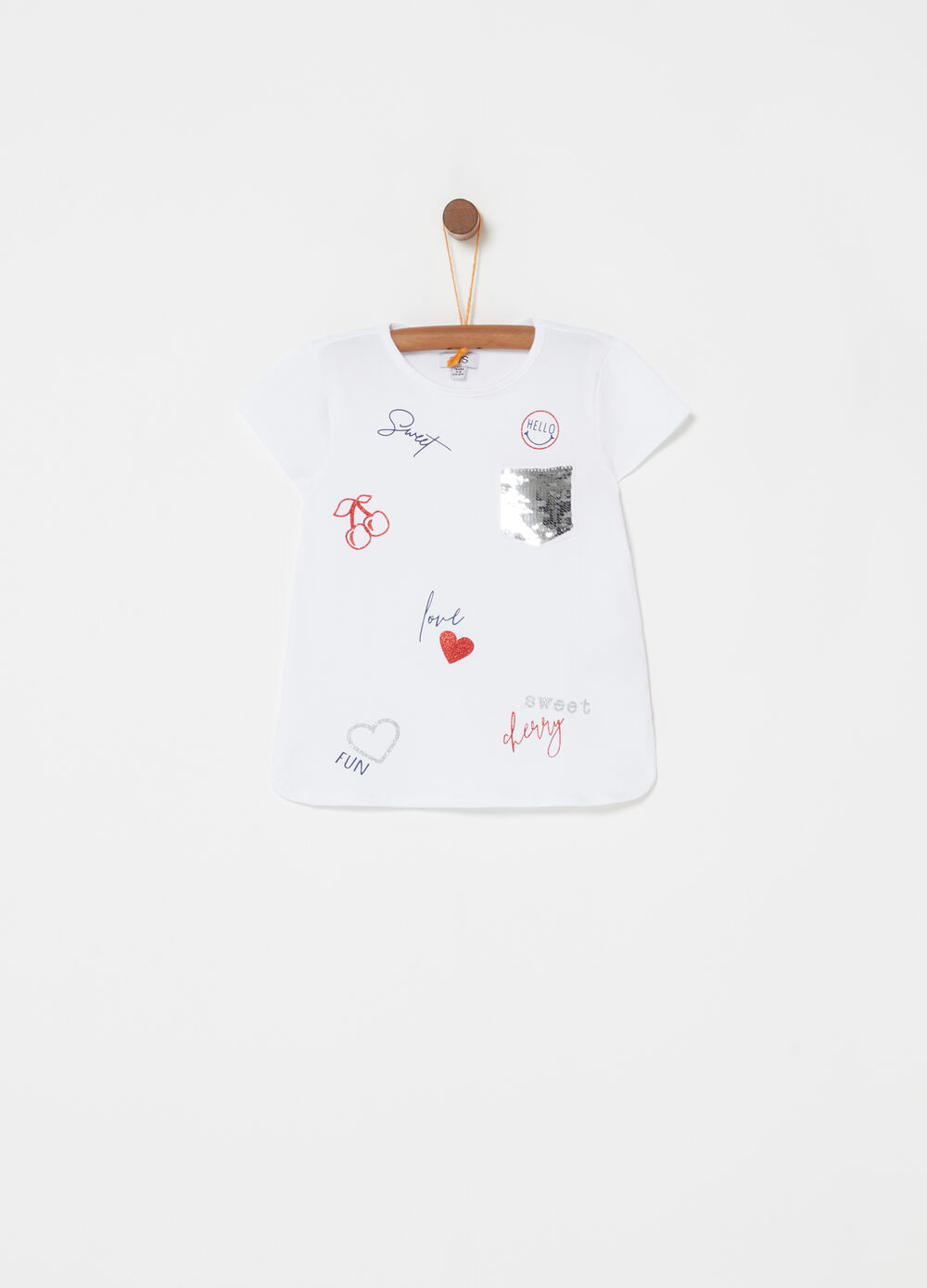 T-shirt with small pocket, sequins and print