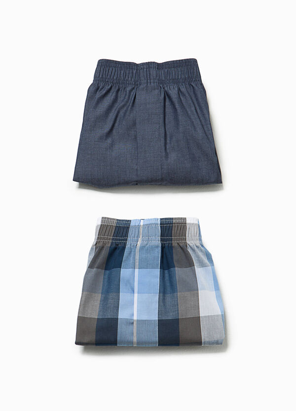 Two-pack solid colour and check boxer shorts | OVS