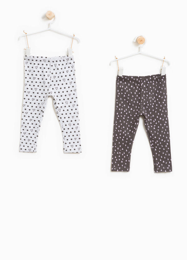 Two-pack patterned cotton leggings | OVS
